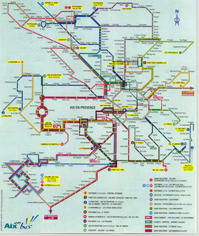 Схема региональных автобусов возле Экс-ан-Прованса